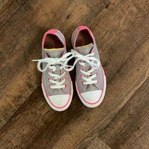 Girls Light Grey/Hot Pink Converse size 1